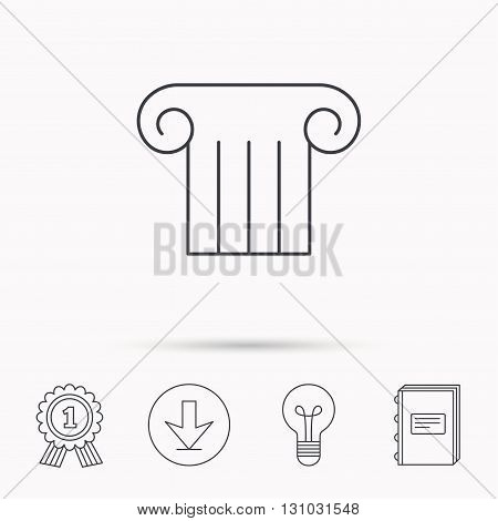 Antique column icon. Ancient museum sign. Architectural pillar symbol. Download arrow, lamp, learn book and award medal icons.