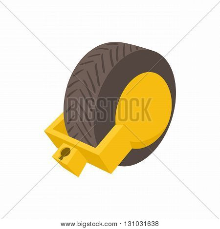 Lock for car wheels icon in cartoon style isolated on white background. Transport and service symbol