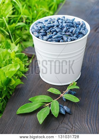 A bucket of honeysuckle berries with leaves on wooden background standing on green grass in the garden.