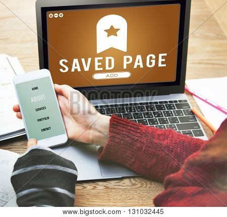 Saved Page Bookmark Content Web Online Management Concept