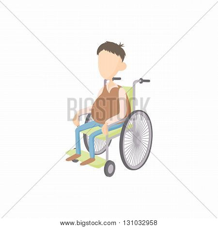 Man in wheelchair icon in cartoon style isolated on white background. Disability and assistance symbol