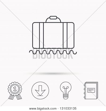 Baggage icon. Luggage sign. Download arrow, lamp, learn book and award medal icons.