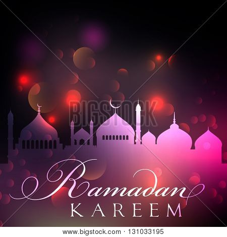 Ramadan background with bokeh lights design