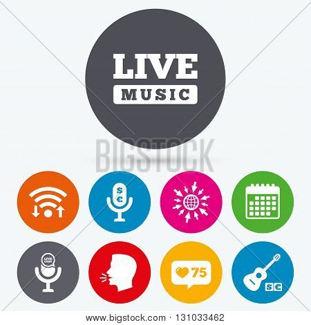 Wifi, like counter and calendar icons. Musical elements icons. Microphone and Live music symbols. Paid music and acoustic guitar signs. Human talk, go to web.