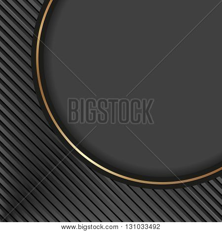 black background with stripes and round banner