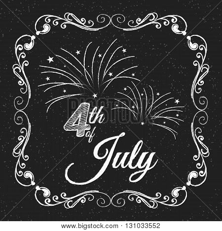 4th of July. Independence day. Lettering on chalkboard. Typography concept.
