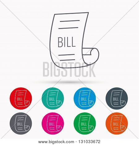 Bill icon. Pay document sign. Business invoice or receipt symbol. Linear icons in circles on white background.