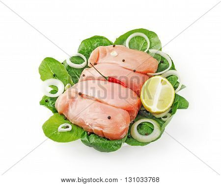 whole chicken Breasts with lemon on white background