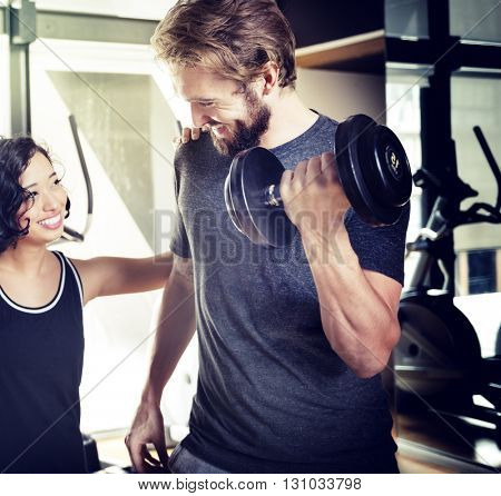 Weight Training Athlete Attractive Cheerful Lifestyle Concept