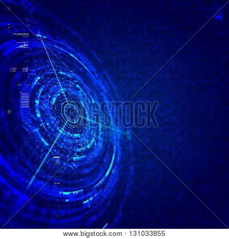 Abstract technological background in blue color.