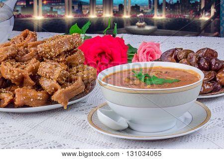 Moroccan food,ramadan kareem, soup, orient food, hospitality