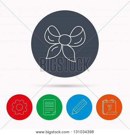 Gift bow icon. Present decoration sign. Ribbon for packaging symbol. Calendar, cogwheel, document file and pencil icons.