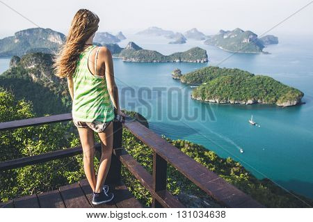 A girl watching a beautiful view of Ang Thong National Park Thailand