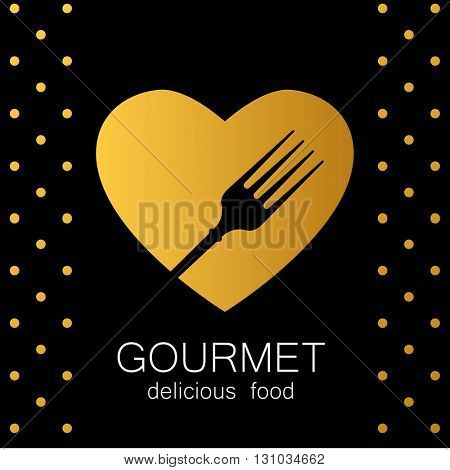 Gourmet logo. Delicious food. Golden Heart with silhouette of fork on black background. Lovely food logo template. Love Food logo. Template logo for restaurant, cafe, fast food, store food.