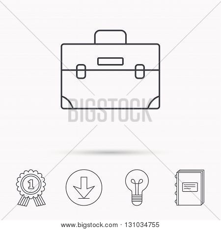 Briefcase icon. Businessman case or diplomat sign. Hand baggage symbol. Download arrow, lamp, learn book and award medal icons.