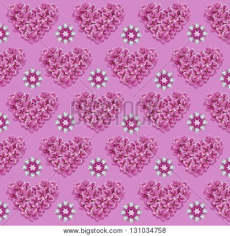 background made of precious stones and flowers of lilac