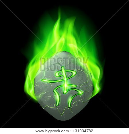 Mysterious rough stone with magic rune burning in green flame