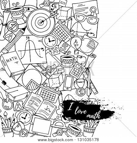 Mathematics science theme. Hand drawn pattern about school and learning in doodle style. Teacher's day black and white background. Pattern created from sketch by trace.