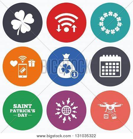 Wifi, mobile payments and drones icons. Saint Patrick day icons. Money bag with coin and clover sign. Wreath of quatrefoil clovers. Symbol of good luck. Calendar symbol.