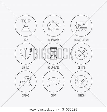Teamwork, presentation and dialog icons. Chat speech bubble, shield and pyramid linear signs. Check, delete and hourglass flat line icons. Linear colored in circle edge icons.