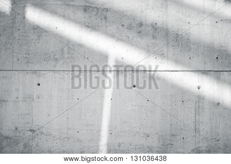 Horizontal Photo Blank Grungy Smooth Bare Concrete Wall with  Sunrays Reflecting on Light Surface. Empty Abstract background. Black and White.