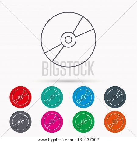 CD or DVD icon. Multimedia sign. Linear icons in circles on white background.