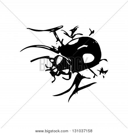 Abstract drawing black beetle on a white background. Vector image