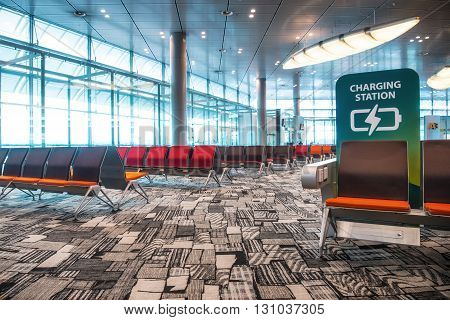 Airport Terminal charging station Seats nobody seating
