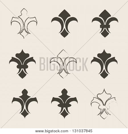 Engraving fleur de lis icons set. Antique decoration fleur de lis eps10