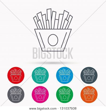 Chips icon. Fries fast food sign. Fried potatoes symbol. Linear icons in circles on white background.