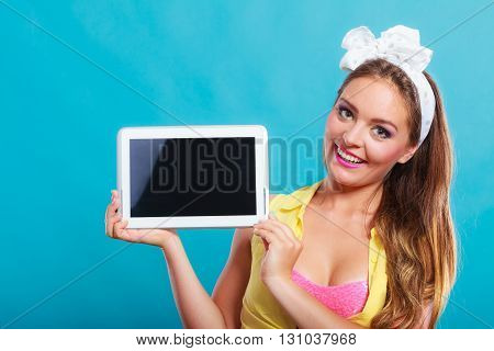 Pin Up Girl With Tablet. Blank Screen Copyspace.