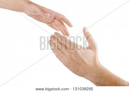 Helping hand isolated on white