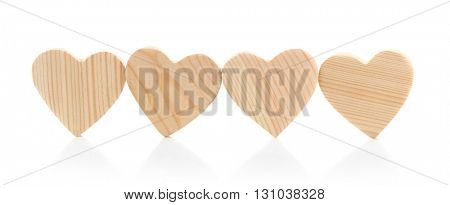 Wooden hearts isolated on white