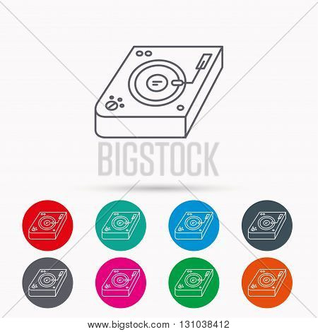 Club music icon. DJ track mixer sign. Vinyl mixing symbol. Linear icons in circles on white background.