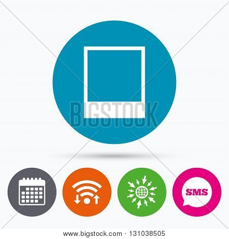 Wifi, Sms and calendar icons. Photo frame template sign icon. Empty photography symbol. Go to web globe.