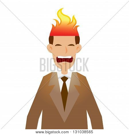 Vector stock of businessman head on fire