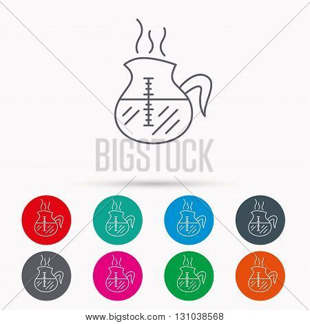Coffee kettle icon. Hot drink pot sign. Linear icons in circles on white background.