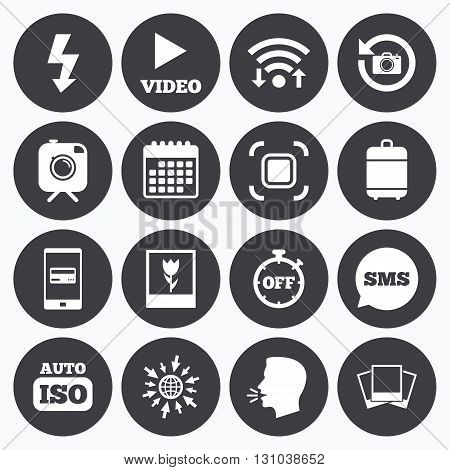 Wifi, calendar and mobile payments. Photo, video icons. Camera, photos and frame signs. Flash, timer and macro symbols. Sms speech bubble, go to web symbols.