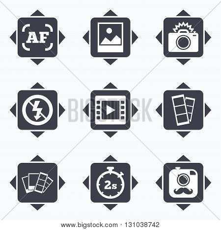 Icons with direction arrows. Photo, video icons. Camera, photos and frame signs. No flash, timer and strips symbols. Square buttons.