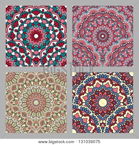 Set of Seamless oriental pattern. 10 eps.