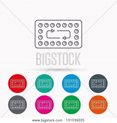 Contraception pills icon. Pharmacology drugs sign. Linear icons in circles on white background.