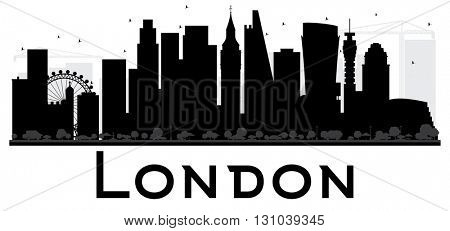 London City skyline black and white silhouette. Vector illustration. Simple flat concept for tourism presentation, banner, placard or web site. Cityscape with landmarks