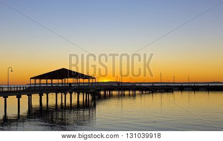 Stunning view of the Redcliffe Australia jetty at sunrise