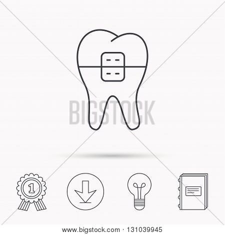 Dental braces icon. Tooth healthcare sign. Orthodontic symbol. Download arrow, lamp, learn book and award medal icons.