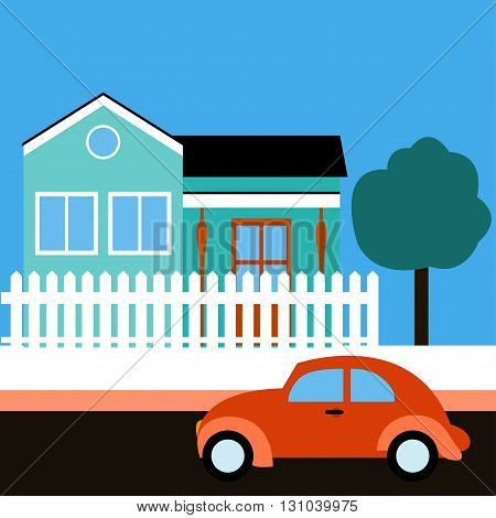 Retro car. Vector illustration. Retro car near a house. Sunny day. Retro car celadon building white fence tree. Flat design