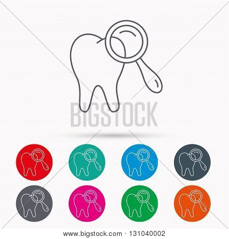 Dental diagnostic icon. Tooth hygiene sign. Linear icons in circles on white background.