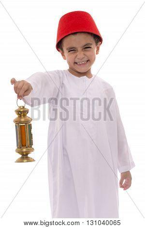 Happy Young Boy With Fez Celebrating Ramadan