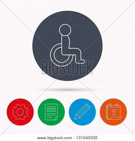 Disabled person icon. Human on wheelchair sign. Patient transportation symbol. Calendar, cogwheel, document file and pencil icons.
