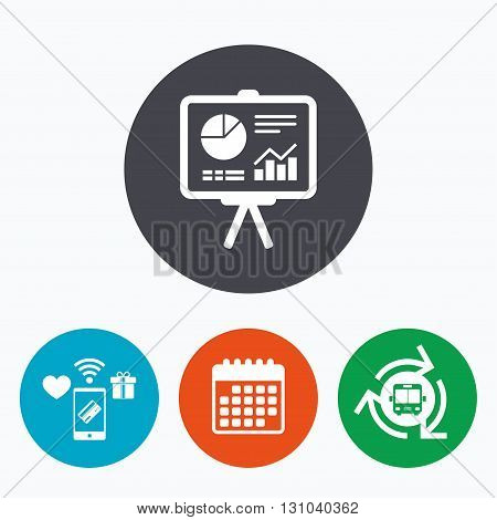 Presentation billboard sign icon. Scheme and Diagram symbol. Mobile payments, calendar and wifi icons. Bus shuttle.