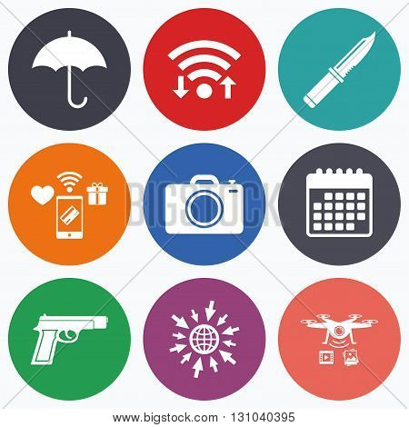 Wifi, mobile payments and drones icons. Gun weapon icon.Knife, umbrella and photo camera signs. Edged hunting equipment. Prohibition objects. Calendar symbol.